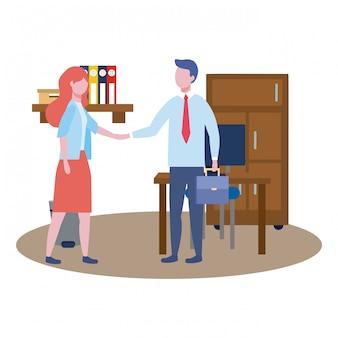 Człowiek biznesu i awatar kobiety biznesu