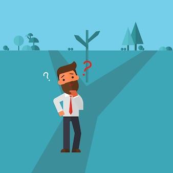 Człowiek biznesu myśli, aby wybrać drogę do zrobienia