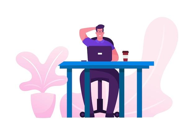 Człowiek biznesu przy biurku ciężko pracuje analizując statystyki projektu na laptopie. płaskie ilustracja kreskówka