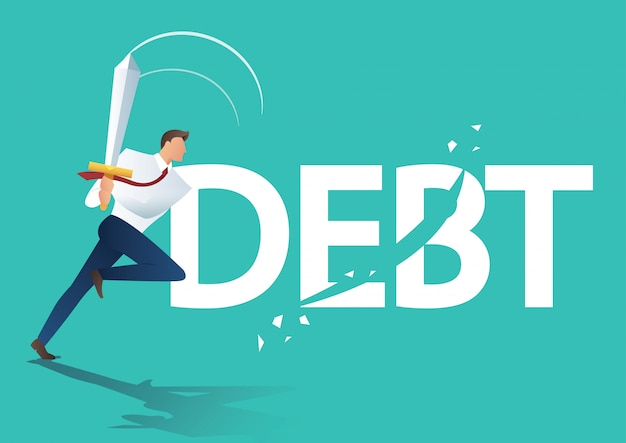 Człowiek biznesu za pomocą miecza wyciąć długu