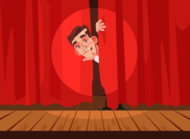 Człowiek boi się wykonać koncepcję fobii na scenie