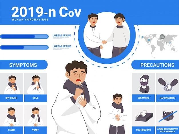 Człowiek chory wykazujący objawy koronawirusa ze środkami ostrożności i transmisji dla 2019-ncov w wuhan.