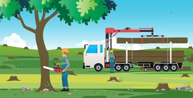 Człowiek cięcia drzewa za pomocą piły elektrycznej z ciężarówką do drzewa
