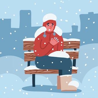 Człowiek cierpi na odmrożenia. facet z zamarzniętymi rękami zimą siedzi na ławce pokrytej śniegiem zimą. ilustracja ręcznie rysowane.