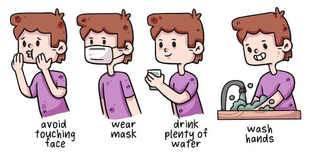 Człowiek covid-19 właściwej ilustracji higieny