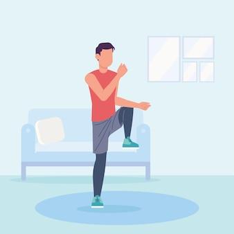 Człowiek ćwiczy taniec fitness w domu