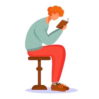 Człowiek, czytanie książki ilustracji.