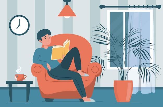 Człowiek czytanie książki. męska postać siedząca w fotelu