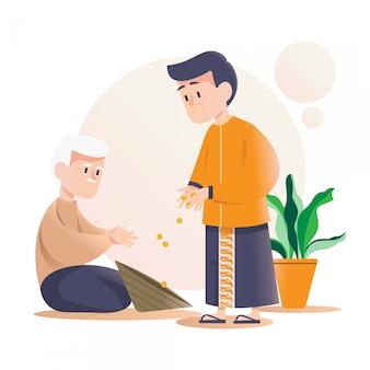 Człowiek daje jałmużnę, aby pomóc innym