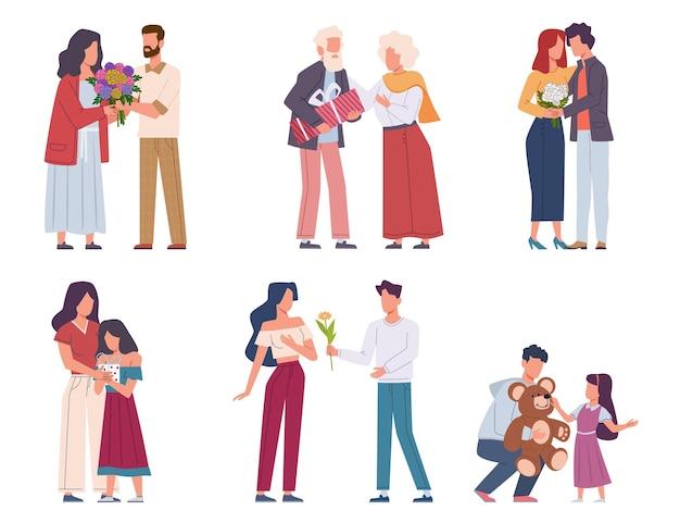 Człowiek daje kwiaty. młodzi i starsi podając piękne bukiety, romantyczni wielbiciele prezentują kwiatowy prezent walentynki lub urodziny, gratulacje świąteczne i niespodzianki postacie płaski wektor zestaw