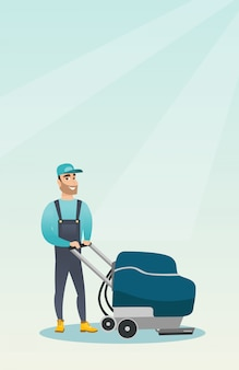 Człowiek do czyszczenia podłogi sklepu maszyną.