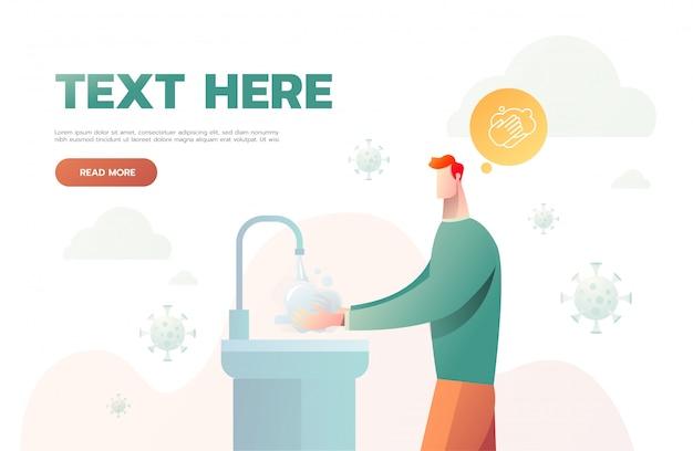 Człowiek do mycia rąk do higieny. atak wirusa. człowiek myje ręce.