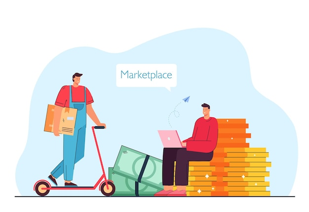 Człowiek dokonujący zamówienia online na rynku ilustracji wektorowych płaski