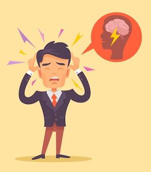 Człowiek dostać płaską ilustrację bólu głowy