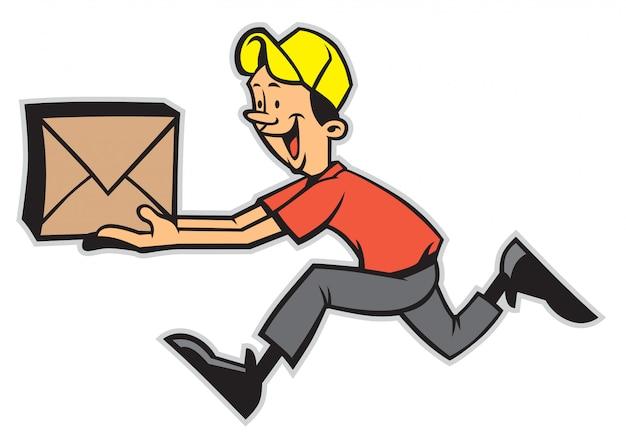 Człowiek dostawy działa podczas trzymania pakietu
