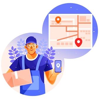 Człowiek dostawy działa przy użyciu mapy na ilustracji smartphone