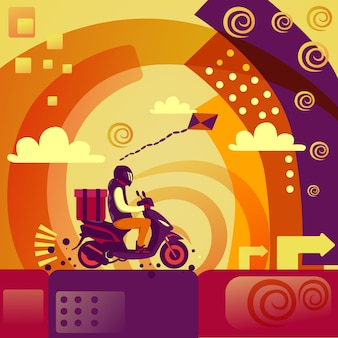 Człowiek dostawy jazda skuter motocykl koncepcja usługi fast courier