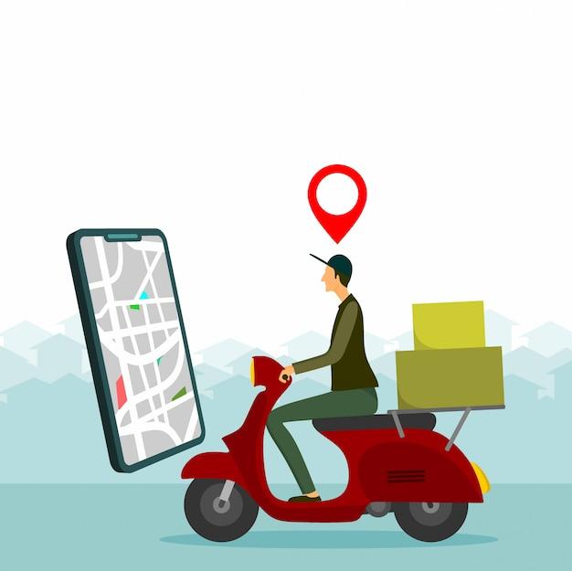 Człowiek dostawy jedzie na czerwonym hulajnodze
