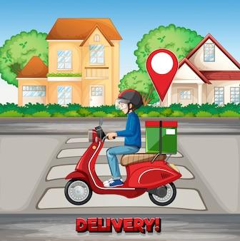 Człowiek dostawy jeżdżący po mieście z logo dostawy