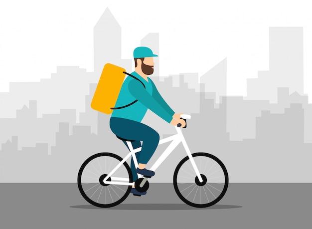 Człowiek dostawy na rowerze. przesyłka ekspresowa. krajobraz miasta. płaski styl.