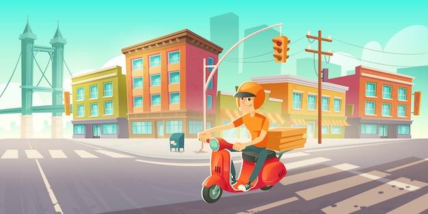Człowiek dostawy na skuter jeździ na ulicy miasta