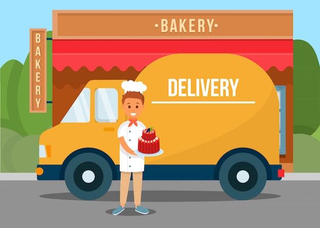 Człowiek dostawy trzyma ciasto w pobliżu ciężarówki i piekarni.