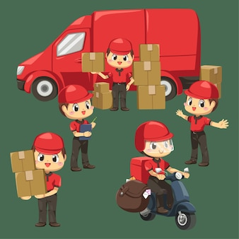Człowiek dostawy ubrany w mundur i czapkę z paczką używa motocykla i furgonetki do wysłania do klienta w postaci z kreskówek, izolowana płaska ilustracja