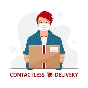 Człowiek dostawy w masce medycznej i rękawiczkach z pudełkiem