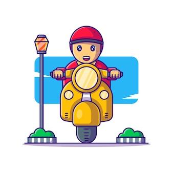 Człowiek dostawy z ilustracji kreskówka skuter