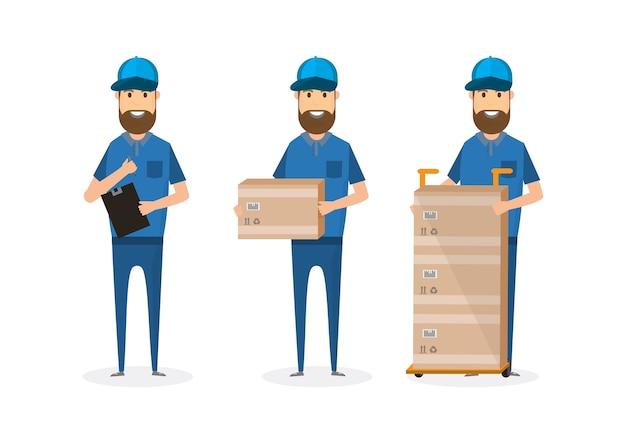 Człowiek dostawy z kartonu