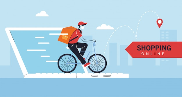 Człowiek dostawy z ochronną maską na rowerze, zakupy online