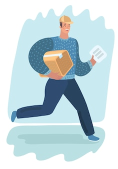 Człowiek dostawy z paczką. szybki transport. postać na białym tle. listonosz, kurier z paczką. koncepcja zakupów online i przeprowadzki.