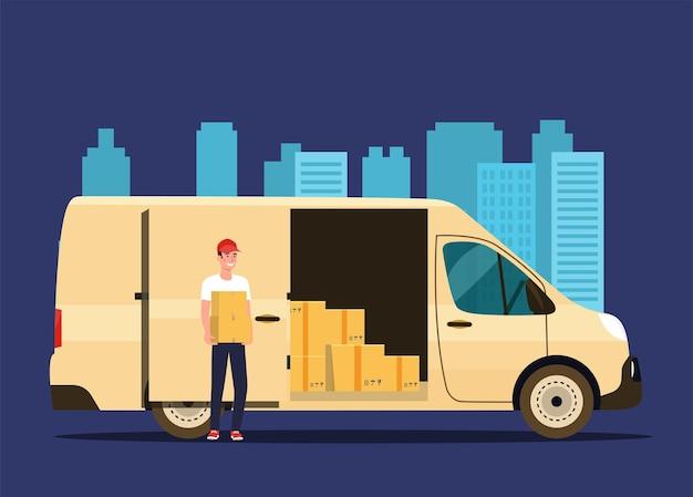 Człowiek dostawy z pudełkami kartonowymi. van cargo.