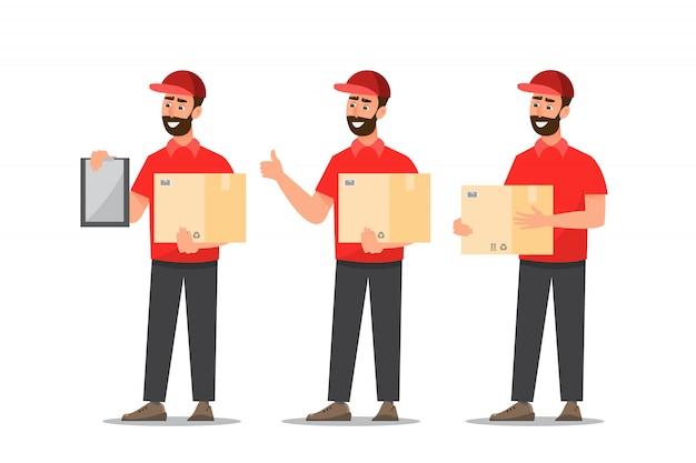 Człowiek dostawy z pudełkiem. listonosza projekt odizolowywający na białym tle