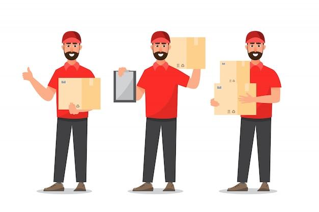 Człowiek dostawy z pudełkiem. projekt listonosza na białym tle