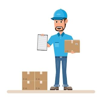 Człowiek dostawy z pudełkiem