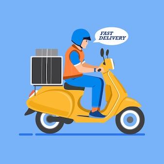 Człowiek dostawy ze skuterem, koncepcja szybkiej dostawy