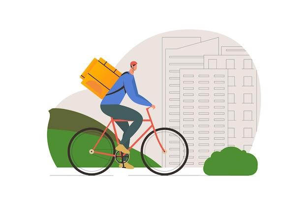Człowiek dostawy żywności na rowerze ilustracja kreskówka