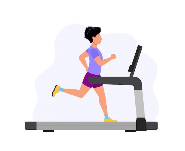 Człowiek działa na bieżni, ilustracja koncepcja sportu, ćwiczeń, zdrowego stylu życia, aktywności cardio.