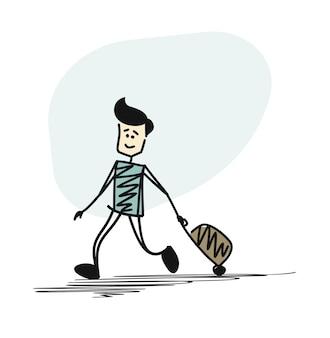 Człowiek działa z walizką, kreskówka ręcznie rysowane szkic tło wektor.