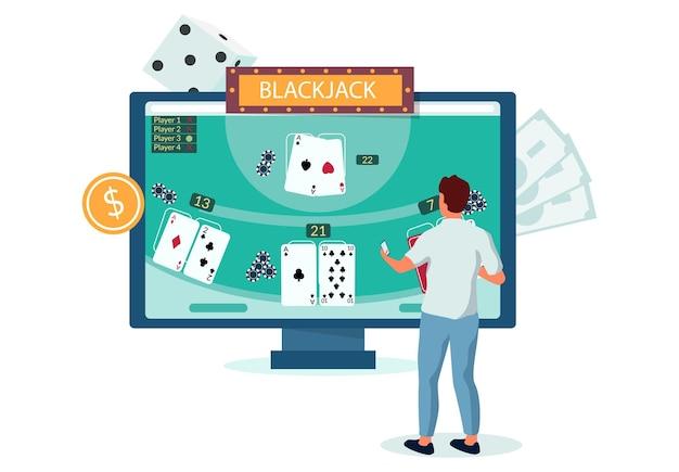 Człowiek gra w blackjacka internetowego gry przy użyciu komputera przenośnego, płaskie wektor ilustracja. hazard w kasynie online. zabawa. biznes kasynowy.
