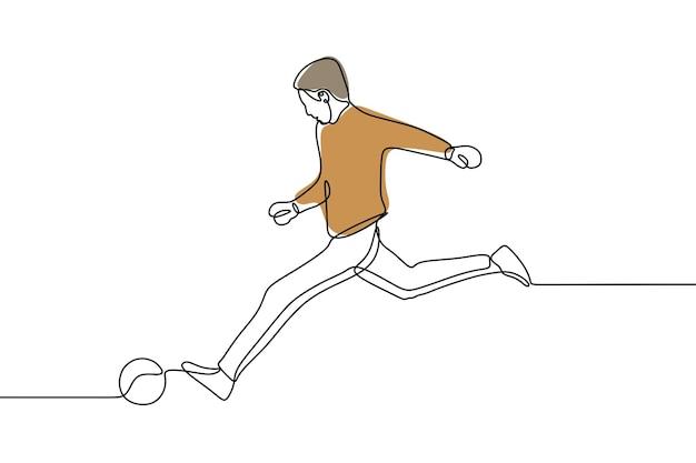 Człowiek gra w piłkę nożną jednoliniową ciągłą grafikę liniową