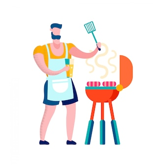 Człowiek grillowanie kiełbaski ilustracji wektorowych płaski