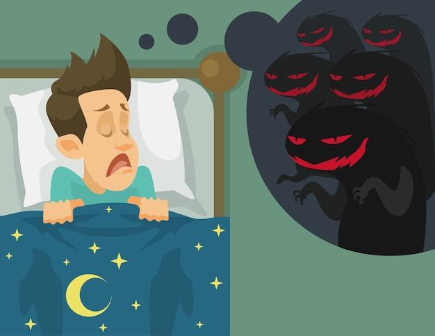 Człowiek i koszmar. płaska ilustracja