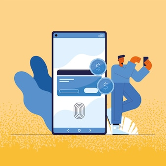 Człowiek i smartfon z kartą kredytową płatności online