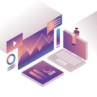 Człowiek i wykresy z projektowaniem ilustracji wektorowych urządzenia laptopa