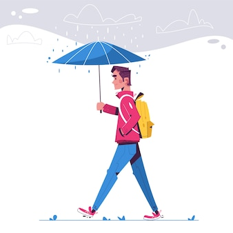 Człowiek idzie w deszczowy dzień