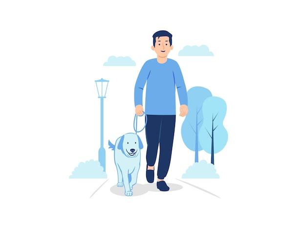 Człowiek idzie z psem na ilustracji koncepcji parku miejskiego