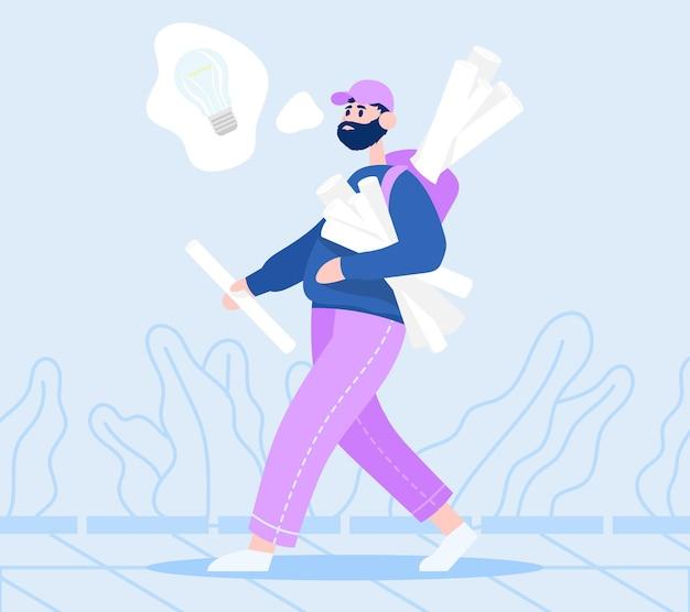 Człowiek idzie z rolkami papieru i myśli o swoim startupie inwestor wybiera właściwy pomysł
