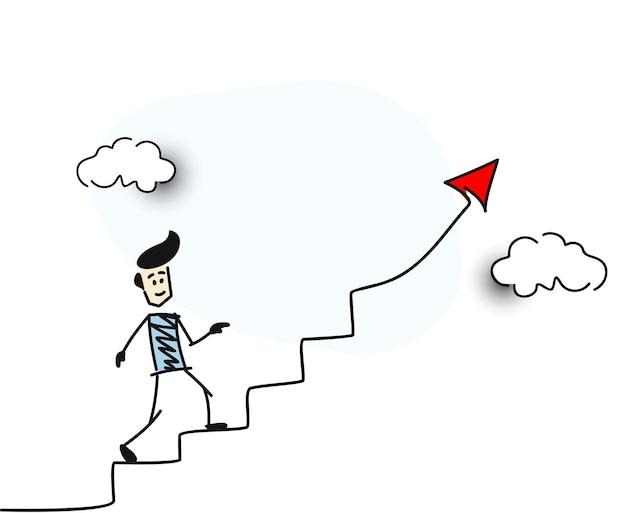 Człowiek iść po schodach czerwona strzałka symbol sukcesu finansowego, ilustracja kreskówka ręcznie rysowane szkic wektor.